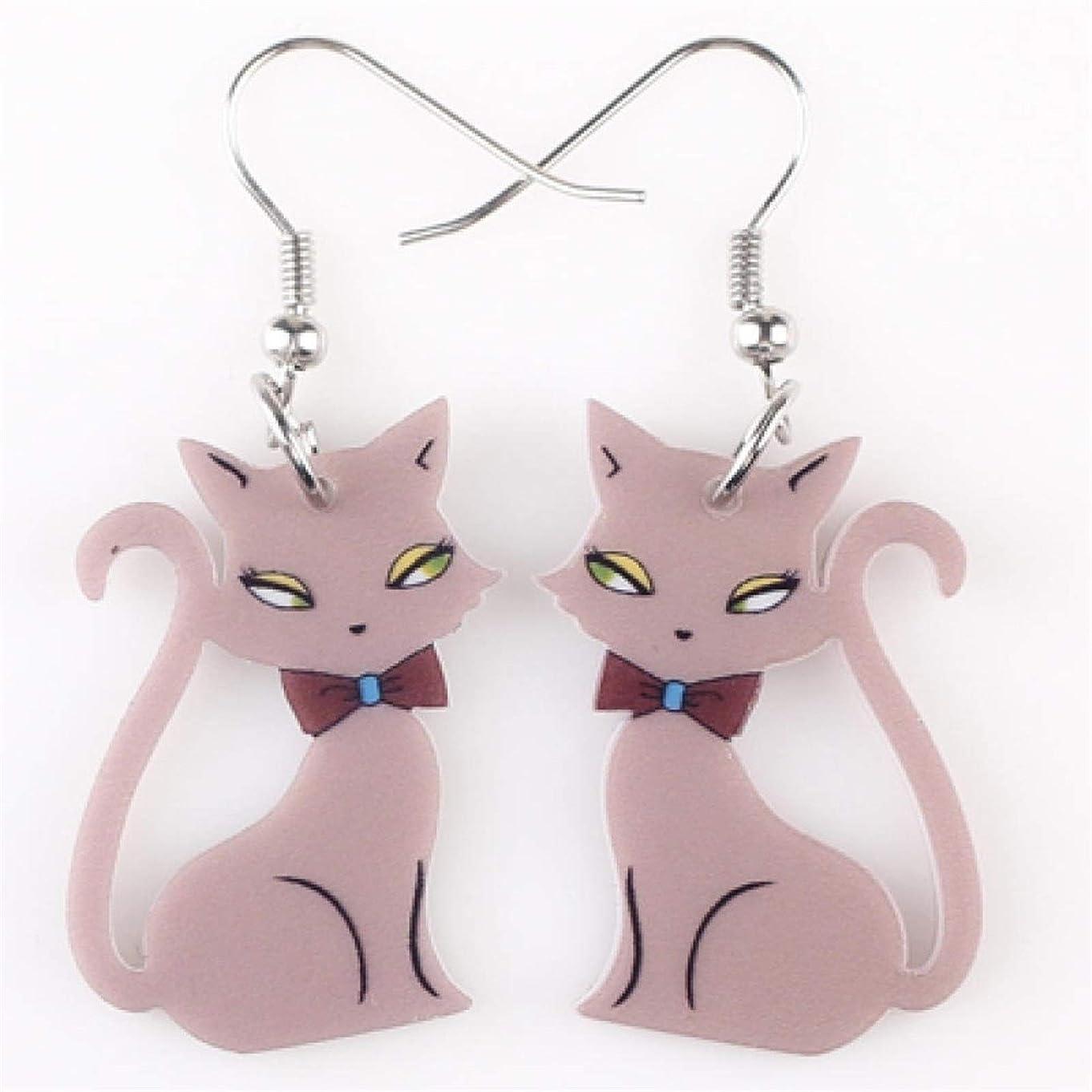 行政苦難シガレットアクリルプリントペンダント猫のイヤリング長い大きなイヤリングのファッションスタイルの女性のジュエリーアクセサリー HappyL (Color : Brwon)
