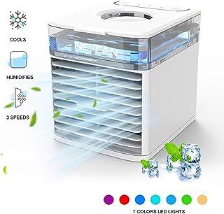 Kangrui NexFan Aire Acondicionado Pequeño,4 en 1 Air Cooler Fan, Humidificador, Ventilador de Escritorio, 7 Luces LED, 3 Velocidades, para el Hogar y la Oficina (Blanco)