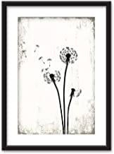 wall26 - Framed Wall Art - Dandelion in Black White - Black Picture Frames White Matting - 23x31 inches