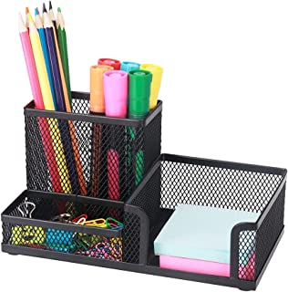 Xinsier Mesh Pen Holder for Desk Pencil Holders Desk Organizer Office Supplies Caddy with Sticky Notes Holder for Office S...