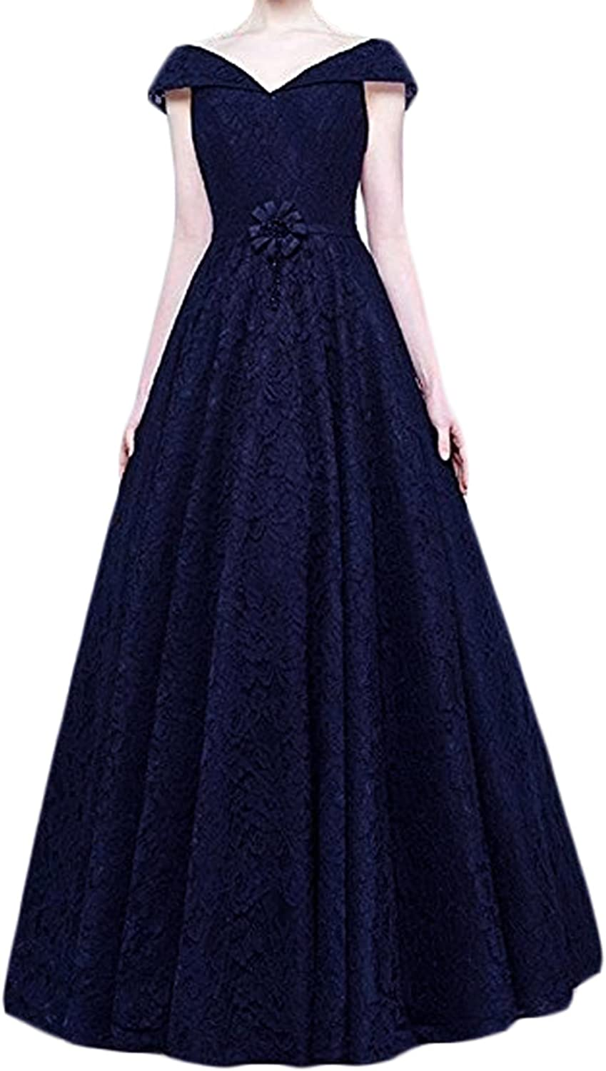 CIRCLEWLD Swing Prom Dresses Cap Sleeve Lace Long Formal Plus Size Evening Gown