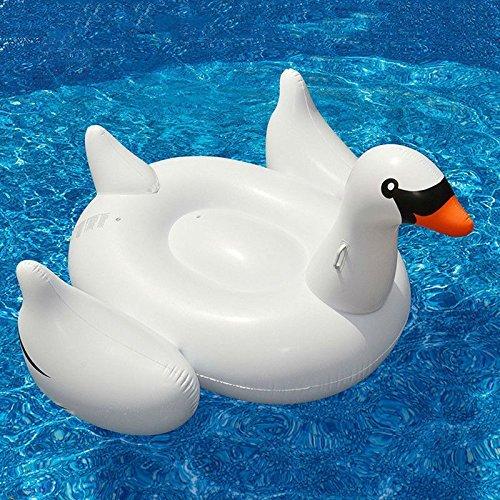 Missley Großes aufblasbares Schwan Schwimmer- Floatie Ride On Rideable Blow Up Sommer Spaß Pool Spielzeug Liege Floatie Raft für Kinder & Erwachsene (swan)