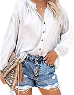 Womens Casual V Neck Long Sleeves Button Down Shirt Blouse