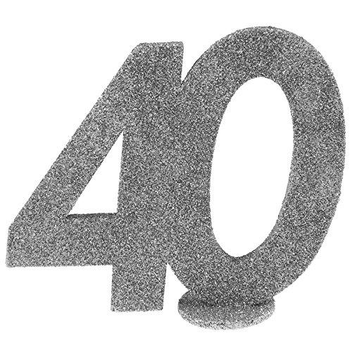 SANTEX 4752-40, Chiffre Anniversaire vertical déco, 40 ans Argent