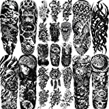 EGMBGM 23 Sheets Full Arm Temporary Tattoo Sleeves For Men Boys Including 8 Sheets Full Temporary Sleeve Tattoo For Adults Military and 15 Sheets Large Temporary Tattoos For Women Girls Flower Compass