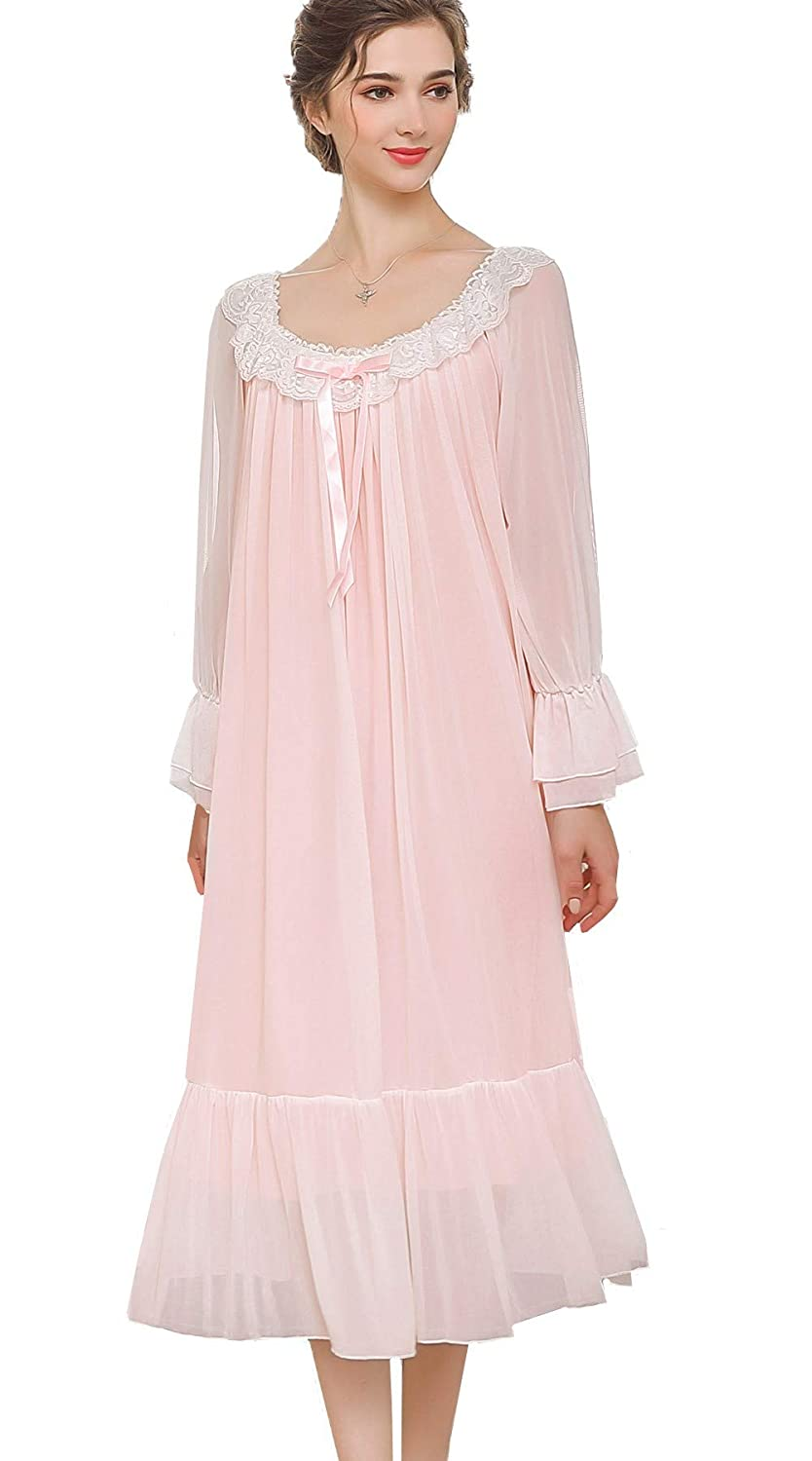 floral eyelet lace vintage 1800s M L White Victorian nightgown long sleeve full-length sleep dress antique cotton