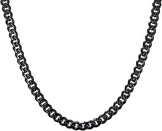 Xusamss Hip Hop Black Titanium Steel Chain Necklace,Width 7MM