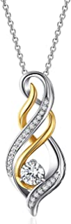 Caperci Sterling Silver and Gold Plated 1ct Cubic Zirconia Diamond Accent MOM Flame Twist Pendant Necklace for Women