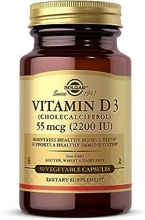 Solgar Vitamin D3 (Cholecalciferol) 55 mcg (2200 IU) Vegetable Capsules - 50 Count