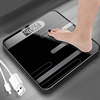 Mhwlai Báscula Digital para Baño, Báscula Corporal, USB Recargable, Báscula Saludable, Pantalla LCD, Báscula De Percepción Precisa (Carga / 18 Kg),Negro
