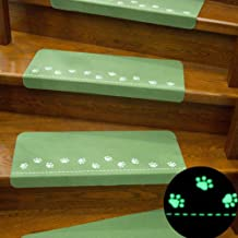 Staircase Carpet,1pc Home Luminous Self-Adhesive Non-Slip Floor Staircase Carpets Bear Claw Pattern Glow in Dark Stair Tre...