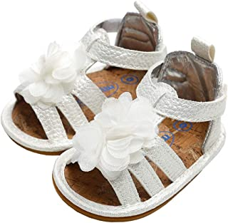 lakiolins Baby Girls Flower Bundles Strappy Gladiator Flat Sandals Kids Summer Beach Shoes