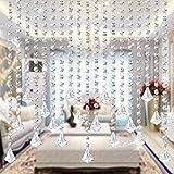 5pcs 1M Guirnalda con Colgantes de Cristal Clear octogonal Garland decoración de boda Cortina Decorativa Nupcial y de Fiesta (Colgante de diamantes)