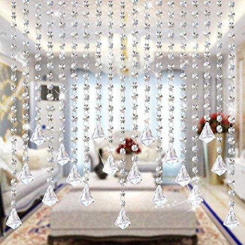 Starsglowing 5Pcs 1M Kristall Perlen Girland Octagon Bead Garland Anhänger Hochzeit House Office Dekoration Partei Dekor (Kristall Diamant)