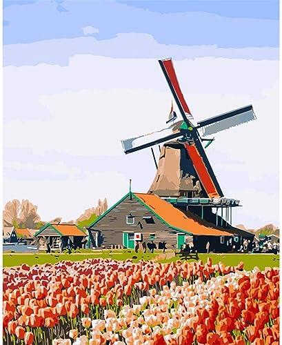NDSLJSLYH DIY Werkzeugsatz Student Kinder Erwachsenen Handgemalte  em e Wanddekoration Windmühle A 120X16cm