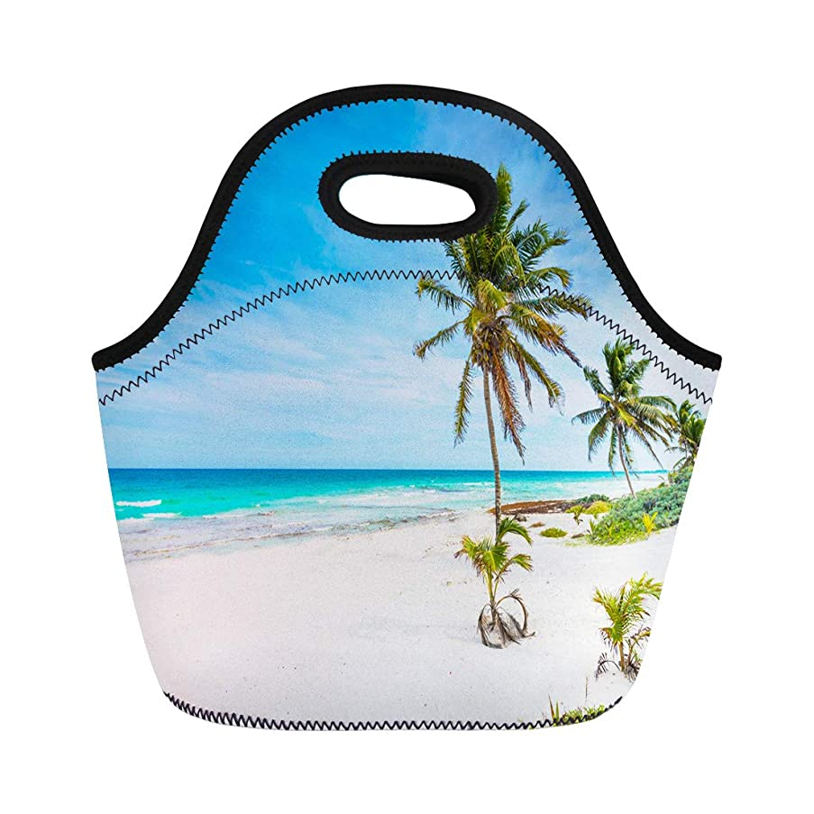 Semtomn Neoprene Lunch Tote Bag Caribbean Sea in Mexico Riviera Maya Paradise Beach Beautiful Reusable Cooler Bags Insulated Thermal Picnic Handbag for Travel,School,Outdoors,Work