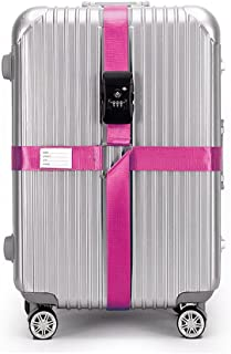 BlueCosto TSA Approved Luggage Strap Suitcase Travel Cross Belt Adjustable - Pink