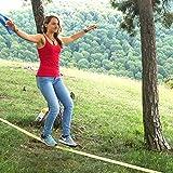 Gibbon Slacklines XL Classic Line mit Treewear, Gelb, 25 Meter (22,5m Band + 2,5m Ratschenband), für Anfänger und Einsteiger, inklusive Ratschenschutz, Rücksicherung und Baumschutz, Breite 2