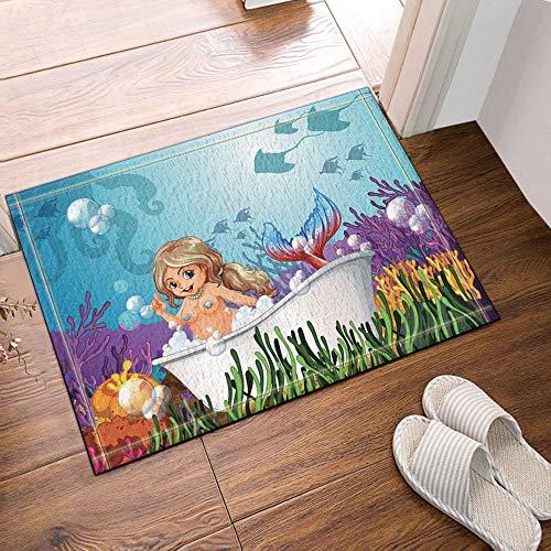 Ducha y tapetes de Sirena,baño de Sirena en la bañera y corales y Pasto acuático,Franela Durable para baños