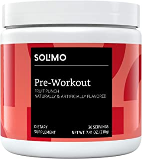 Amazon Brand - Solimo Pre Workout Powder, Fruit Punch, 7.41 Ounce (30 Servings)