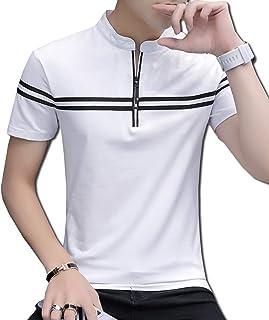 [Bolso] ハーフジップ スタンド カラー tシャツ ボーダー ポロシャツ (ブラック、ホワイト、グレー、ライトグレー)M〜XXXL