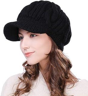 Fancet Womens Knit Visor Beanie Newsboy Cap Winter Warm Hat Cold Snow Weather Girl 55-60cm