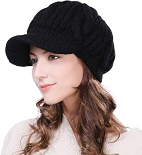Womens Knit Visor Beanie Newsboy Cap Winter Warm Hat Cold Snow Weather Girl 55-60cm