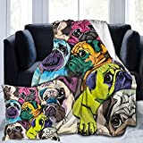 Flannel Fleece Throw Blanket Colorful Pug Dogs Funny Puppy with 45X45 (18 Inch) Pillowcase Cover Microfiber Durable Couch Blankets Home Decor Perfect for Bed and Sofa Blankets for All Season(50'x 40')