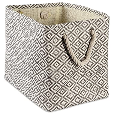 """DII Woven Paper Storage Basket or Bin, Collapsible & Convenient Home Organization Solution for Office, Bedroom, Closet, Toys, Laundry (Small - 11x9x10""""), Gray Geo Diamond"""