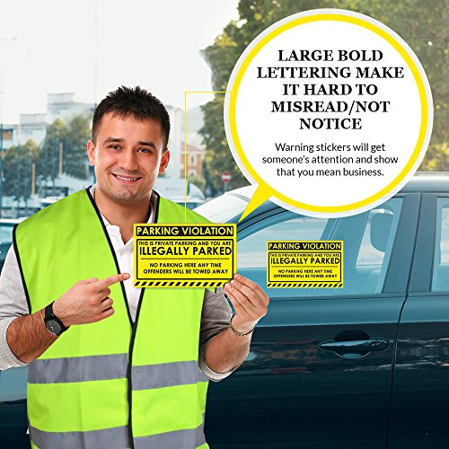 """No Parking Violation Stickers Hard to Remove (Yellow) 10-Pack Illegal Parking Warnings and Towing Tags for Illegally Parked Vehicles in Your Lot – Super Sticky Car Permit Notices 8"""" x 5"""" by MESS Photo #2"""