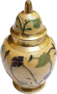PARIJAT HANDICRAFT Medium Brass Cremation Urns for Human Ashes Remains - Brass - Suitable for Funeral Cemetery Burial or N...