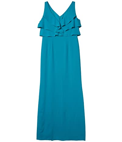 Adrianna Papell Ruffle Crepe Gown (Light Teal) Women