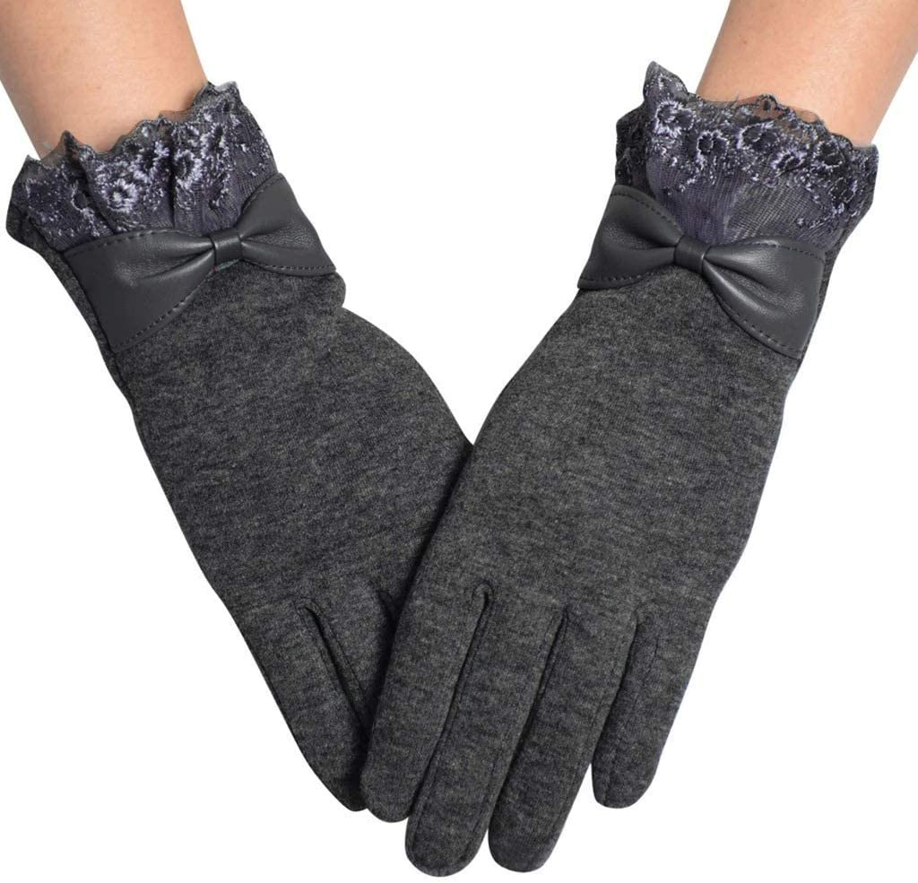 FASGION Elegant Women Lace Warm Winter Gloves Touch Screen Sense Wrist Wool Female Lovely Bow Mittens Girls Cashmere Gloves (Color : Gray)