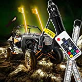Bestauto 2PC 3FT LED Whip Lights RGB Color Lighted Whips for UTV ATV 20 Colors,5 Levels,23 Modes,10 Speed Options,Weatherproof,Off-Road Whip RF Wireless Remote for UTV ATV Polaris Accessories RZR