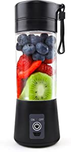 Portable Personal Mini Smoothie Blender: Small Size Kitchen Juicer Cup with USB Rechargeble Single Fruit Shake Smoothies Mixer Maker Battery Operated Individual Juice Blenders for Travel Camping Black