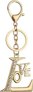 Giftale Love Letter Keychain for Women Cute Bag Charms Crystal Rhinestone Pendant Car Key Ring