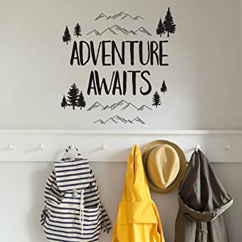 Inspirational Quote Wall Decal DIY Decoration Adventure Awaits Colorful Vinyl Lettering with Arrow Wall Stickes Peel and Stick Wall Decals Adventure Quote Travel Wall Decal