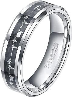 TIGRADE 6mm 8mm Titanium Rings Heartbeat Cardiogram Black Carbon Fiber Engagement Wedding Band