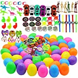 Easter Eggs Filled with 60 Pieces 2 3/8' Different Kinds of Surprise Plastic Eggs with Toys Inside, Each Perfect for Easter Egg Hunt Theme Party Favor Suitable for Kids Learning Educational Toys for Boys and Girls