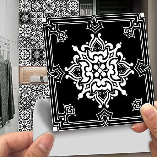 10 pegatinas autoadhesivas impermeables para pared, 30 x 30 cm, para decoración de cocina, sala de estar, baño, blanco y negro (30 x 30 cm)