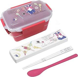 Sailor Moon Kawaii Bento Lunch Box 2 Tiers - with Sailor Moon Chopsticks Set - Microwave-safe - Dishwasher-safe (Spoon and Chopsticks)