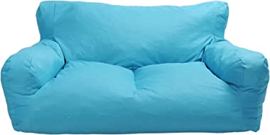 Blue Bean Bag Chair Kids Self-Inflated Sponge Stuffed Beanless Dorm Chair for Adults,Double Seats Sofa Lounger Couch Furnitur