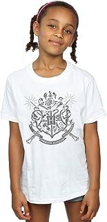 HARRY POTTER niñas Hogwarts Badge Wands Camiseta 9-11 Years Blanco