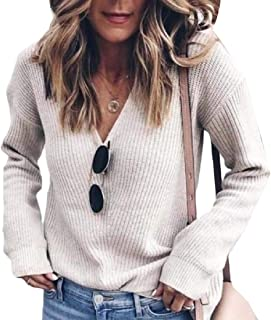 Women's Sweaters V Neck Loose Knit Pullover Long Sleeve Blouse Top