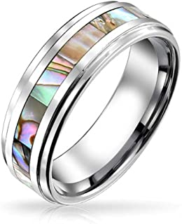 Bling Jewelry Rainbow Abalone Inlay Coppie Intanium Fede Nuziale Anelli Uomo per Donna Comfort Fit 8MM