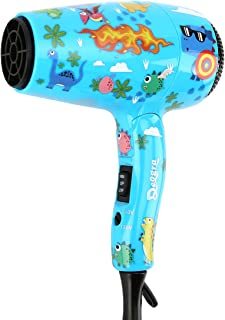 Deogra 1000W Hair Dryer for Kids - Dual Voltage Mini Blow Dryer Dinosaur Design with Concentrator Nozzle&Diffuser Attachment, Foldable Hair Blower Portable for Travel with Storage Bag