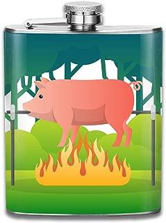 Steel Stainless Flask,Pig Roasting Over A Fire Illustration Pocket Funnel,Screwed Top Liquor Alcohol Whiskey Spirits Hip for Men,7 OZ
