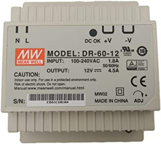 MW Mean Well DR-60-12 12V 4.5A 54W Single Output Industrial DIN RAIL Power Supply
