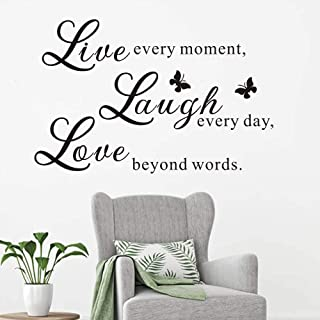FlyWallD Inspirational Quotes Wall Decal Home Girls Butterfly Sticker Removable Vinyl Art Decoration Live Every Moment Laugh Every Day Love Beyond Words