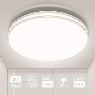 Plafonnier LED 20w, Öuesen Luminaire Plafonnier 1850lm Blanc Neutre 4000K, Classe de Protection IP44 Étanche de Plafond Po...
